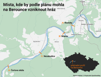 Berounka - přehrada - plánek lokality