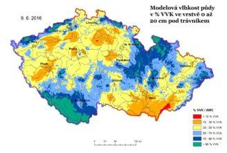Vlhkost půdy ČR červen 2016