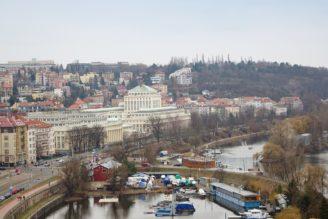 Vltava Muzeum pražského vodárenství výhled Vyšehrad