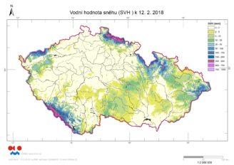 ČHMÚ - zásoby vody ve sněhu 3 - 2018